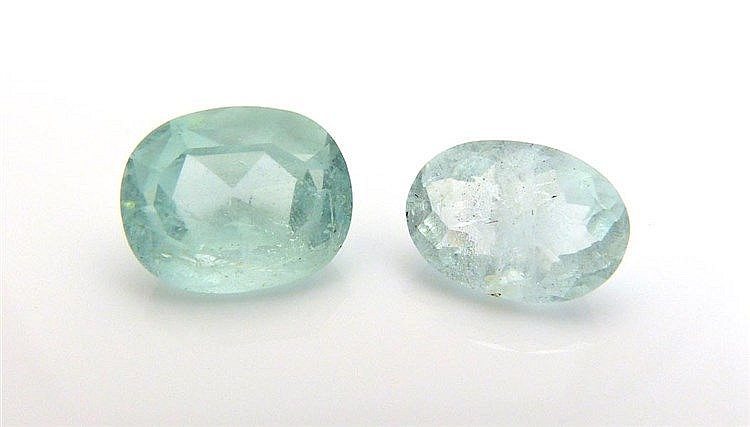 A PAIR OF AQUAMARINES