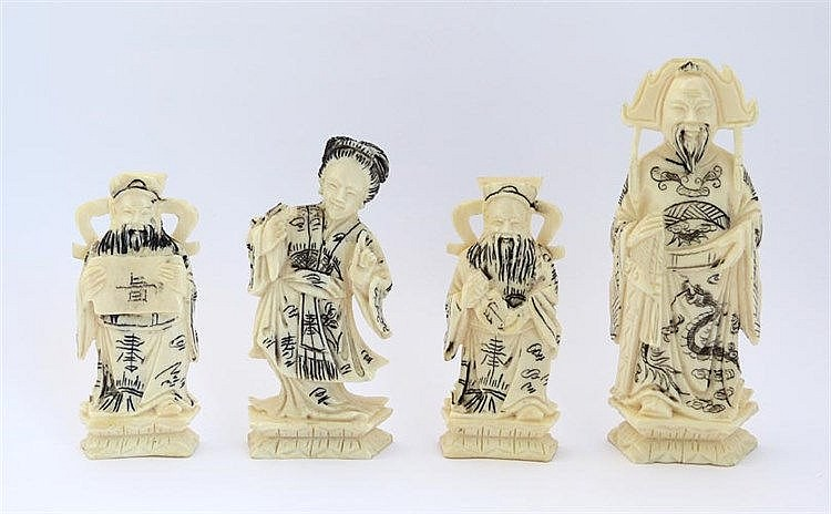 FIVE CARVED IVORY FIGURES