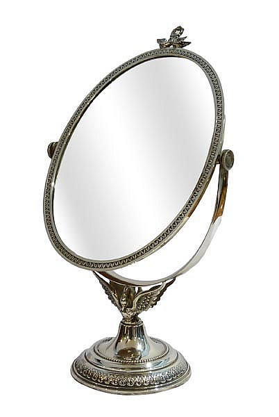 A STERLING SILVER VANITY MIRROR