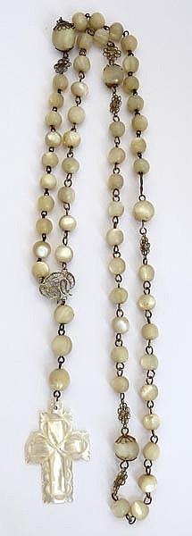 AN ANTIQUE SILVER AND NACRE ROSARY