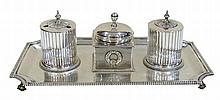 AN ANTIQUE 19TH CENTURY STERLING SILVER INKSTAND
