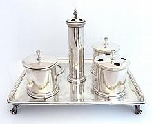 AN ANTIQUE STERLING SILVER INKSTAND