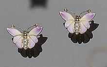 A PAIR OF GOLD, ENAMEL AND DIAMOND EARRINGS