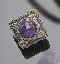 A SILVER, AMETHYST AND DIAMOND RING