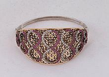 A SILVER, BRONZE AND ZIRCON BANGLE BRACELET
