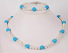 A PEARL AND TURQUOISE NECKLACE