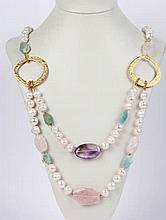 A PEARL, QUARTZ, AMETHYST AND AGATE NECKLACE