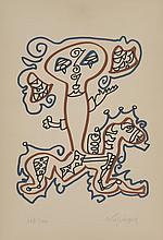 Charles LAPICQUE (1898-1988)    Le cavalier   Lithographie en couleurs, n°119/200 et signé de la main de l'artiste   37 x 25,2 cm