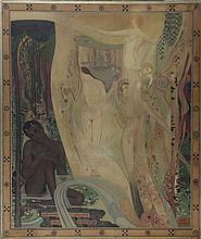 JANIN Louise (1893-1997)     « L'après midi d'un faune ». Grande huile sur toile (restaurations).    Signée et titrée.    Dimensions : 200 x 170 cm
