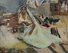 Edy LEGRAND     (Bordeaux 1892 - Bonnieux 1970)   Odalisque marocaine   Huile sur toile d'origine    80 x 100 cm