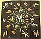 DANIEL SWAROVSKI Paris Foulard en soie noir à décor d'insectes/bijoux - Dimensions : 67 x 67 cm -  Size : 26,3 x 26,3 in. (bon état/ good condition)