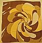 OSTINELLI Foulard en crêpe de soie marron et beige à décor graphique - Dimensions : 73 x 77 cm- Size : 28,7 x 30,3 in. (bon état/good condition)