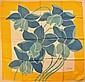 ESTEREL Foulard en soie bleu, jaune et blanc à décor de jonquilles - Dimensions : 75 x 77 cm - Size : 29,5 x 30,3 in. (fils tirés, infimes tâches/pulls, tiny stains)