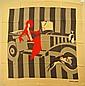 DIANNA DAVID Foulard en crêpe de soie gris, blanc et rouge à décor de femme et d'auto - Dimensions : 85 x 85 cm - Size : 33,4 x 33,4 in. ( bon état/ good condition)