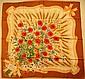 GUCCI par Vittorio Accornero Foulard en soie marron et blanc, orné d'un important bouquet de fleurs des champs - Dimensions : 84 x 87 cm  - Size : 33 x 34,2 in. (décolorations, fils tirés/discolorations, pulls)