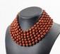 YVES SAINT LAURENT Rive Gauche Prototype Collier ras de cou à six rangs de perles ovales chocolat - Longueur : 41 cmSix raws necklace made of brown beads - Length : 16,1 in.