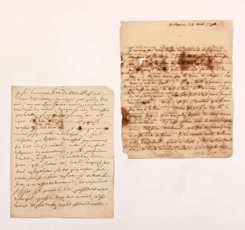 Luke SCHAUB (1690-1758) diplomate anglais d'origine suisse, il fut ambassadeur d'Angleterre à Paris. L.A.S., Stow 25 août 1734, [à MONTESQUIEU] ; 2 pages in-4 (mouill. et petits défauts). [CM 409]