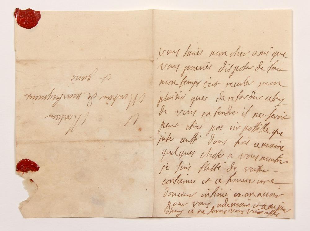Claudine Guérin de TENCIN (1682-1749) femme de lettres, animatrice d'un salon littéraire influent. L.A., [été 1734 ?, à Jean-Baptiste de SECONDAT] ; sur 1 page in-8. [CM 652]