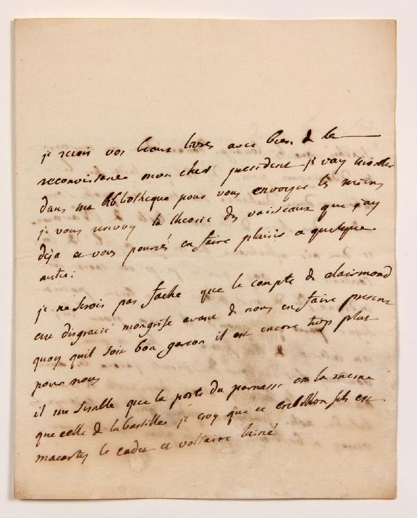 Charles de Secondat, baron de La Brède et de MONTESQUIEU. L.A., La Brède 17 décembre 1734, [au Président Jean BARBOT] ; 2 pages et demie in-4 (lég. mouill.). [CM 416]