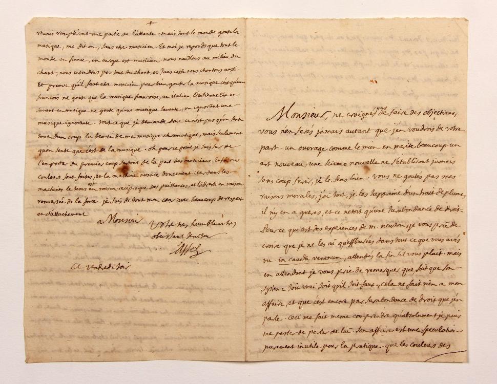 Louis-Bertrand CASTEL (1688-1757) savant jésuite. L.A.S., vendredi soir [printemps-été 1735], à MONTESQUIEU ; 4 pages in-8 remplies d'une petite écriture. [CM 420]