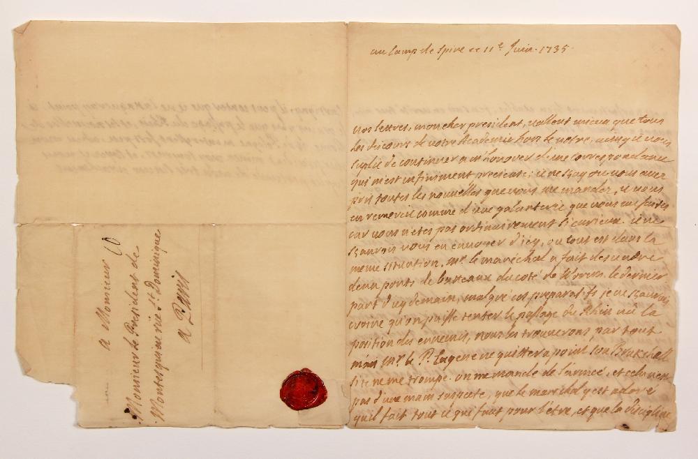 François, comte de BULKELEY (1686-1756) lieutenant général au service de France. L.A., au camp de Spire 11 juin 1735, au Président de MONTESQUIEU à Paris ; 2 pages et demie in-4, adresse avec cachet cire rouge aux armes. [CM 424]
