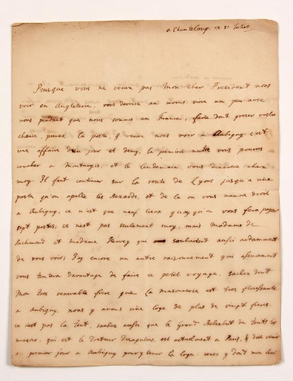 Charles de Lennox, 2e duc de RICHMOND (1701-1780) homme politique et militaire anglais, haut dignitaire de la Franc-Maçonnerie anglaise. L.A., Chanteloup 31 juillet [1735, à MONTESQUIEU] ; 1 page et demie in-4. [CM 429]