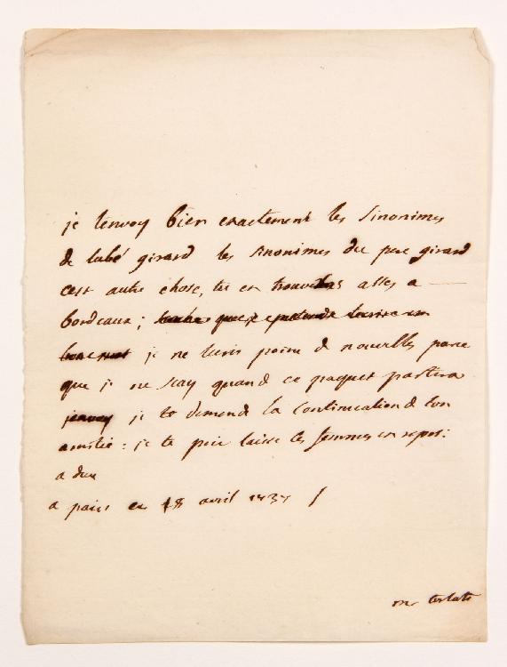 Charles de Secondat, baron de La Brède et de MONTESQUIEU. L.A., Paris 18 avril 1737, [à son fils Jean-Baptiste de SECONDAT] ; 1 page in-4. [CM 466]