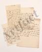 Claudine Guérin de TENCIN (1682-1749) femme de lettres, animatrice d'un salon littéraire influent. 4 L.A., [Paris s.d.], à MONTESQUIEU à Paris ; 1 page in-4, et 3 pages in-8 avec adresses (dont une avec cachet cire rouge aux armes brisé). [CM 629,