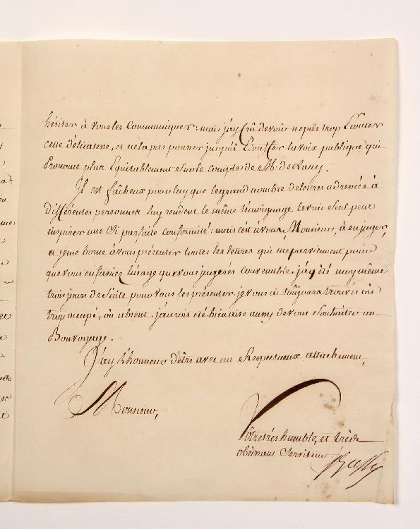Charles-Joseph Patissier de BUSSY, marquis de Castelnau (1720-1785) commandant en second dans l'Inde sous Lally-Tolendal, puis gouverneur général des établissements français des Indes. 2 L.S. (la même en double), Paris 16 septembre 1761, plus 4