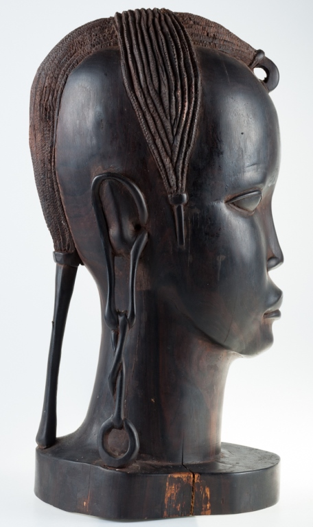 African Tribal Ebony Wood Carved Head Sculpture