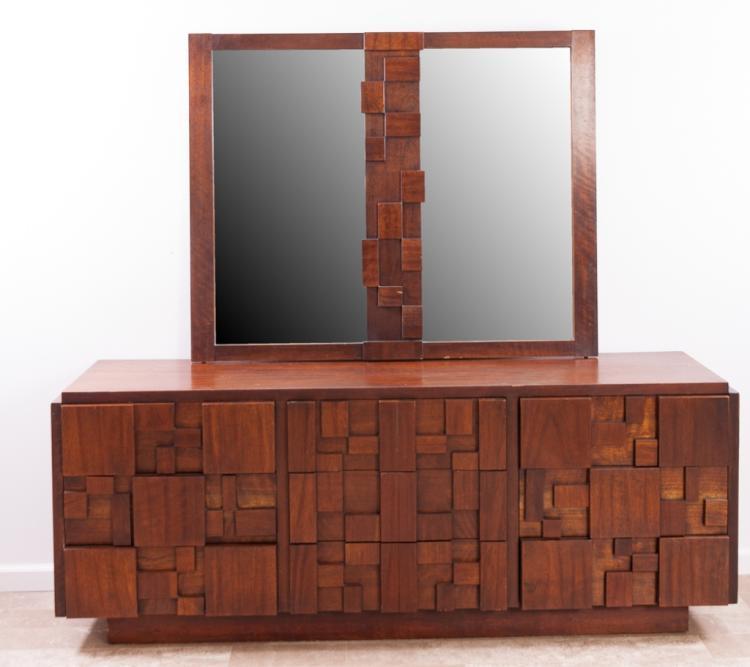 Lane Brutalist Style Long Dresser w/ Mirror