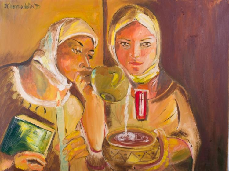 K. Dzhaffarov Kazak Women Portrait Oil on Canvas