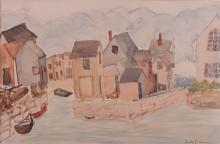 Mark Baum Watercolor of Harbor and Houses