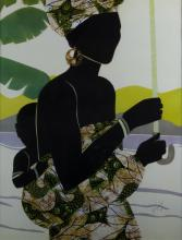 Silhouette of Woman & Child Signed Artist Proof