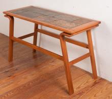 Danish Teak Tile Top Console Table