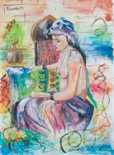 K. Dzhaffarov Semi-Nude Watercolor