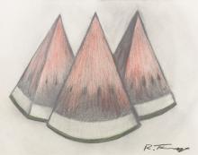 Rufino Tamayo Watermelon Slices Mixed Media