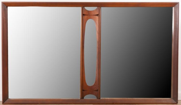 Brasilia Style Wood Wall Mirror