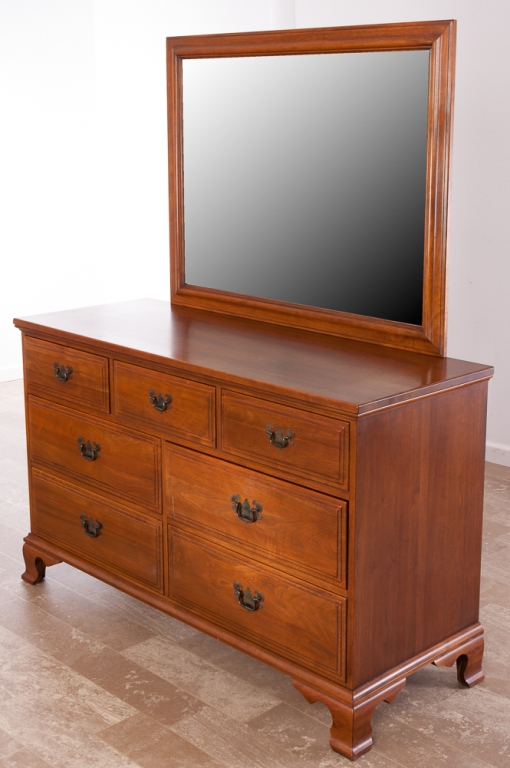 Davis cabinet company walnut dresser w mirror for American walnut bedroom furniture uk