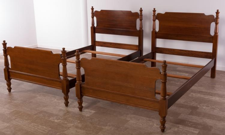 Davis Cabinet Company Walnut Twin Beds Pair