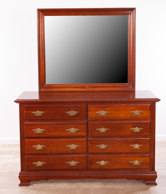 Cresent Furniture Cherry Double Dresser and Mirror