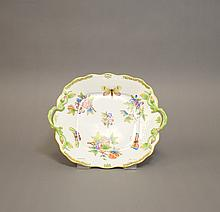 A Herend Porcelain Double Handle Dessert Plate