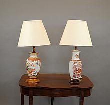 Two Oriental Style Porcelain Vasiform Table Lamps,