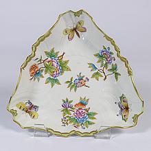 A Herend Porcelain Triangular Dish