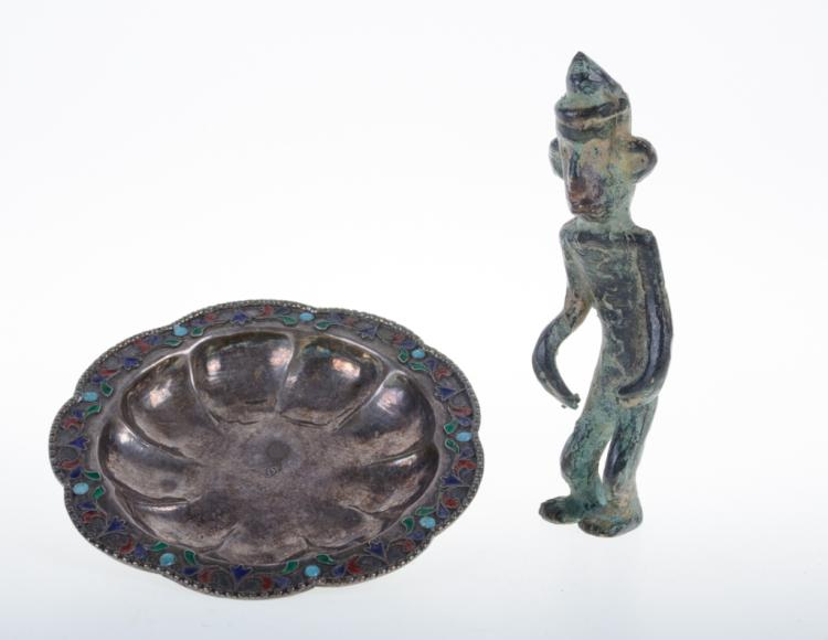 Silver and Cloisonne Dish & Bronze Figure