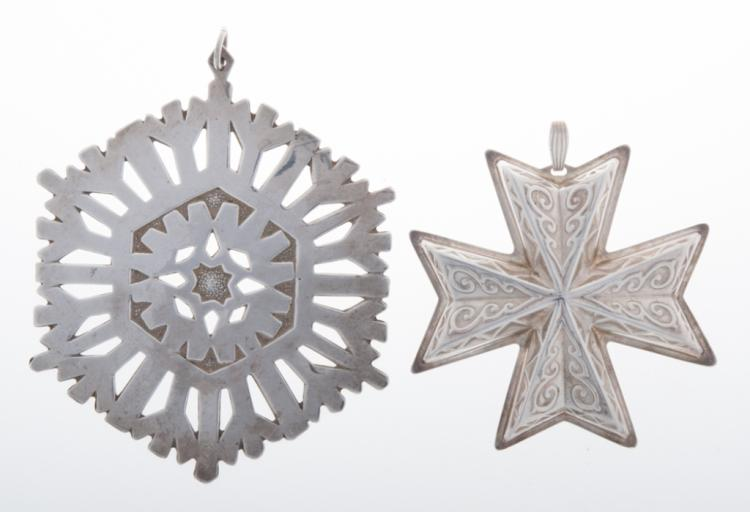 1972 & 1977 Sterling Cross and Snowflake Pendants