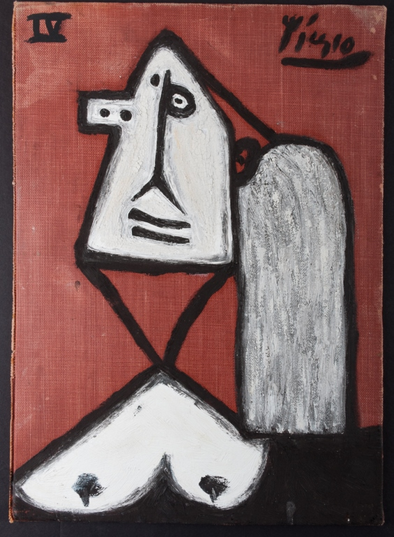 Pablo Picasso Nude Abstract Oil On Canvas Board