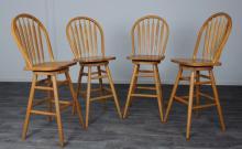 American Oak Arrowback Barstools Set, Swivel Seat
