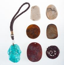 Asian Stone & Pendant Collection, Seven (7) Pieces