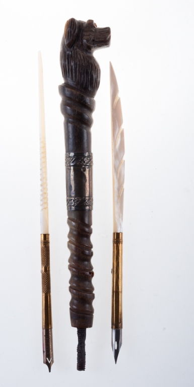 Carved Umbrella Handle & Two Dip Pens